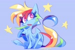 Size: 3566x2401 | Tagged: safe, artist:nekosnicker, rainbow dash, pegasus, pony, blue background, chest fluff, colored sketch, eye clipping through hair, female, looking up, simple background, sitting, solo, stars