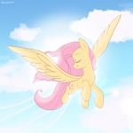 Size: 2200x2200 | Tagged: safe, artist:chickenbrony, fluttershy, pegasus, pony, bright, cloud, cute, daaaaaaaaaaaw, eyes closed, female, flying, happy, head turned, high res, mare, shyabetes, sky, smiling, solo, spread wings, wings