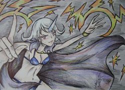 Size: 1600x1145   Tagged: safe, artist:zumilian, trixie, human, belly button, bikini, breasts, cape, cleavage, clothes, female, horn, horned humanization, humanized, lightning, magic, skimpy outfit, solo, swimsuit, traditional art