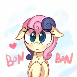 Size: 1280x1280 | Tagged: safe, artist:kqaii, bon bon, sweetie drops, earth pony, pony, adorabon, blushing, chest fluff, cute, female, floppy ears, heart, mare, sketch, solo, weapons-grade cute