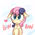 Size: 1280x1280   Tagged: safe, artist:kqaii, bon bon, sweetie drops, earth pony, pony, adorabon, blushing, chest fluff, cute, female, floppy ears, heart, mare, sketch, solo, weapons-grade cute