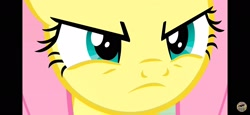 Size: 2340x1080 | Tagged: safe, screencap, fluttershy, pegasus, pony, season 9, sweet and smoky, 1080p, angry, badass, close-up, eyelashes, flutterbadass, fluttershy is not amused, narrowed eyes, oh god, solo, solo focus, stare, this will not end well, unamused, you dare to challenge me