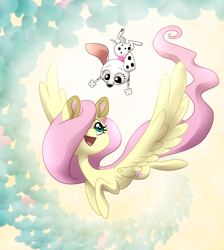 Size: 1000x1114 | Tagged: safe, artist:miles, artist:themiles, fluttershy, butterfly, dalmatian, dog, pegasus, pony, 101 dalmatian street, 101 dalmatians, colored ears, destiny (101 dalmatian street), duo, female, flying, hair over one eye, head turned, looking at each other, looking at someone, looking up, mare, midair, my little pony, open mouth, open smile, smiling, spread wings, wings