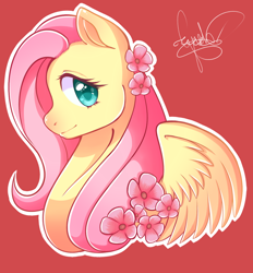 Size: 1024x1103   Tagged: safe, artist:greharts, fluttershy, pegasus, pony, bust, female, flower, flower in hair, looking at you, mare, outline, portrait, profile, red background, simple background, smiling, solo, spread wings, white outline, wings