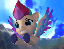 Size: 1402x1079   Tagged: safe, artist:aleshi, zipp storm, fly, insect, pegasus, pony, g5, spoiler:g5, 3d, flying, mountain, sky, smiling, solo, source filmmaker