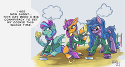 Size: 1563x836   Tagged: safe, artist:lytlethelemur, izzy moonbow, sunny starscout, oc, earth pony, pegasus, unicorn, g5, my little pony: a new generation, eating, squid game