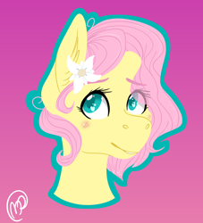 Size: 2000x2200   Tagged: dead source, safe, artist:ivinity-art, fluttershy, pony, alternate hairstyle, blushing, bust, ear fluff, female, flower, flower in hair, green outline, heart eyes, high res, looking at you, mare, outline, pink background, portrait, short mane, simple background, smiling, solo, three quarter view, wingding eyes