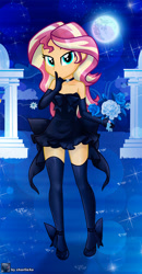Size: 653x1253   Tagged: safe, artist:charliexe, sunset shimmer, equestria girls, bare shoulders, bedroom eyes, bouquet, choker, clothes, dress, evening gloves, female, flower, full moon, gloves, halloween, high heels, holiday, long gloves, marriage, moon, shhh, shoes, sleeveless, solo, stockings, strapless, thigh highs, wedding, wedding dress