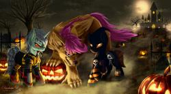 Size: 2000x1100 | Tagged: safe, artist:darksly, scootaloo, oc, hengstwolf, pegasus, pony, unicorn, werewolf, castle, clothes, cloud, commission, dark sky, dirt path, full moon, halloween, holiday, jack-o-lantern, moon, pumpkin, raised hoof, scootawolf, sky, species swap, trio