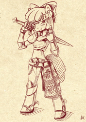 Size: 1413x2000 | Tagged: safe, artist:lexx2dot0, apple bloom, earth pony, anthro, armor, knight, monochrome, solo, sword, weapon