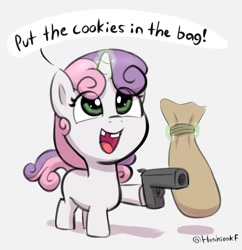 Size: 1428x1478 | Tagged: safe, artist:heretichesh, sweetie belle, pony, unicorn, bag, cute, dexterous hooves, diasweetes, eye clipping through hair, female, filly, glowing, glowing horn, gun, handgun, hoof hold, horn, levitation, magic, magnetic hooves, pistol, robbery, simple background, solo, speech bubble, telekinesis, tooth gap, white background