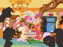 Size: 2880x2160 | Tagged: safe, anonymous artist, applejack, big macintosh, fluttershy, pinkie pie, rainbow dash, rarity, twilight sparkle, oc, oc:late riser, earth pony, pegasus, pony, unicorn, series:fm holidays, baby, baby pony, birthday cake, birthday candles, birthday gift, birthday party, cake, candle, colt, confetti, eyes closed, family, female, fluttermac, food, frog (hoof), hat, highchair, male, mane six, mare, offspring, parent:big macintosh, parent:fluttershy, parents:fluttermac, party, party hat, party horn, present, shipping, silhouette, sitting, smiling, stallion, straight, sugarcube corner, underhoof