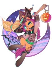 Size: 885x1200   Tagged: safe, artist:musicfirewind, sunny starscout, earth pony, pony, g5, my little pony: a new generation, clothes, costume, halloween, halloween costume, hat, holiday, jack-o-lantern, one eye closed, open mouth, pumpkin, stockings, thigh highs, witch hat