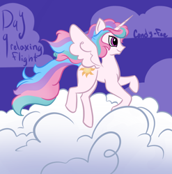 Size: 2020x2048 | Tagged: safe, artist:carconutty, princess celestia, alicorn, pony, cloud, female, flying, high res, horn, mare, multicolored mane, multicolored tail, ponytober, smiling, solo, spread wings, tail, wings
