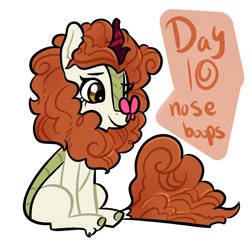 Size: 2048x2048 | Tagged: safe, artist:carconutty, autumn blaze, butterfly, kirin, butterfly on nose, female, insect on nose, ponytober, simple background, solo, white background