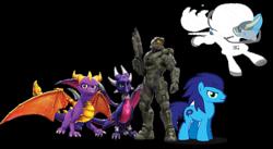 Size: 1280x702 | Tagged: safe, earth pony, keldeo, cynder, halo, halo (series), jetpack, male, master chief, mythical pokémon, pokémon, pokémon amie, respirator, sonic the hedgehog, sonic the hedgehog (series), spacesuit, spyro the dragon, stallion, the legend of spyro