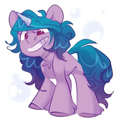 Size: 1155x1195 | Tagged: safe, artist:mardebi_x2, izzy moonbow, pony, unicorn, g5, bubble, chest fluff, cute, female, grin, izzybetes, mare, no pupils, simple background, smiling, solo, white background