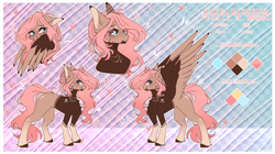 Size: 3990x2230   Tagged: safe, artist:honeybbear, oc, oc:hazel blossom, pegasus, pony, colored wings, female, mare, reference sheet, solo, two toned wings, wings