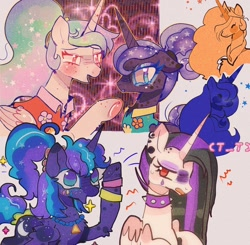 Size: 1024x1002   Tagged: safe, artist:bug-roux, princess celestia, princess luna, alicorn, pony, (t t), 80s princess luna, annoyed, blushing, collar, cutie mark, doodle, doodles, ear piercing, earring, excited, floral shirt, jewelry, piercing, punklestia, sparkles, spiked collar, t t, wristband