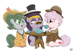 Size: 3024x2100 | Tagged: safe, artist:wispy tuft, oc, oc:mummydew, oc:pitchblende, oc:red pill, earth pony, elephant, undead, unicorn, bowler hat, clothes, cute, dress, egyptian, egyptian pony, fancy, female, filly, foal, hat, mummy, pipe, simple background, suit, sundress, tea party, top hat, transparent background, wholesome