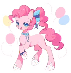 Size: 1002x1024 | Tagged: safe, artist:leafywind, pinkie pie, earth pony, pony, alternate hairstyle, balloon, bow, colored pupils, cute, diapinkes, female, food, frosting, hair bow, heart, mare, missing cutie mark, neck bow, open mouth, ponytail, simple background, solo, white background