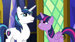 Size: 1920x1080   Tagged: safe, screencap, shining armor, twilight sparkle, alicorn, pony, unicorn, the one where pinkie pie knows, brother and sister, duo, female, male, mare, siblings, stallion, twilight sparkle (alicorn)