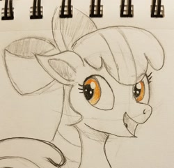 Size: 2048x1978   Tagged: safe, artist:polar_storm, apple bloom, earth pony, pony, female, filly, happy, sketch, solo, traditional art