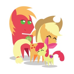 Size: 600x600   Tagged: safe, artist:theaquabrony, apple bloom, applejack, big macintosh, earth pony, pony, female, filly, male, mare, pointy ponies, siblings, stallion