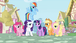 Size: 1920x1080 | Tagged: safe, screencap, applejack, fluttershy, pinkie pie, rainbow dash, rarity, twilight sparkle, earth pony, pegasus, pony, unicorn, female, intro, mane six, opening, ponyville, unicorn twilight