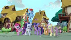 Size: 3840x2160 | Tagged: safe, artist:creatorofpony, artist:discopears, artist:wissle, applejack, fluttershy, pinkie pie, rainbow dash, rarity, twilight sparkle, earth pony, pegasus, pony, unicorn, 3d, applejack's hat, blender, cowboy hat, crossed legs, crouching, cute, female, flying, happy, hat, high res, intro, lidded eyes, looking at you, mane six, mare, mlp fim's eleventh anniversary, one leg raised, opening, smiling, unicorn twilight
