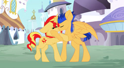 Size: 1280x708 | Tagged: safe, artist:thelifedragonslayer, flash sentry, sunset shimmer, pony, female, flashimmer, kissing, male, shipping, straight