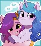 Size: 1765x1947 | Tagged: safe, artist:potetecyu_to, izzy moonbow, pipp petals, pegasus, pony, unicorn, g5, my little pony: a new generation, adorapipp, cute, female, hug, izzybetes, smiling