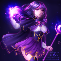 Size: 2800x2800 | Tagged: safe, artist:depressiverami, twilight sparkle, human, clothes, commission, glowing hands, humanized, magic, solo, staff, ych result