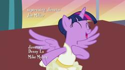 Size: 1280x720   Tagged: safe, screencap, twilight sparkle, alicorn, pony, a royal problem, ballerina, bipedal, cropped, cute, eyes closed, open mouth, opening credits, solo, tutu, twiabetes, twilarina, twilight sparkle (alicorn)