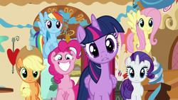 Size: 1920x1080   Tagged: safe, screencap, applejack, fluttershy, pinkie pie, rainbow dash, rarity, twilight sparkle, alicorn, earth pony, pegasus, pony, unicorn, the one where pinkie pie knows, confused, excited, female, mane six, mare, twilight sparkle (alicorn)