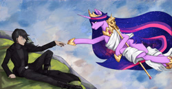 Size: 7267x3745 | Tagged: safe, artist:田园锄串子, twilight sparkle, alicorn, human, pony, the last problem, clothes, crown, duo, ethereal hair, ethereal mane, ethereal tail, female, fine art parody, genesis, hoof shoes, jewelry, looking at each other, male, mare, older, older twilight, peytral, princess shoes, princess twilight 2.0, reaching out, regalia, scepter, shoes, tail, the creation of adam, twilight scepter, twilight sparkle (alicorn)