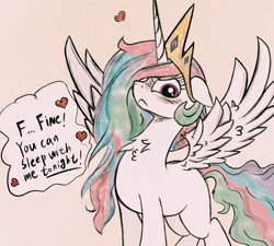 Size: 1280x1153   Tagged: safe, artist:kqaii, princess celestia, alicorn, pony, abstract background, blushing, chest fluff, cute, cutelestia, dialogue, embarrassed, eyelashes, female, floppy ears, frown, glare, heart, horn, implied sex, jewelry, looking at you, mare, messy mane, missing cutie mark, neck fluff, simple background, solo, speech bubble, spread wings, stuttering, tail, talking to viewer, tan background, text, tiara, tsundelestia, tsundere, wing fluff, wings