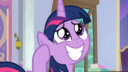 Size: 3410x1920   Tagged: safe, screencap, twilight sparkle, alicorn, pony, season 9, sparkle's seven, book, cute, female, grin, horn, mare, multicolored mane, multicolored tail, purple eyes, school of friendship, smiling, solo, tail, twiabetes, twilight sparkle (alicorn)