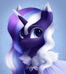 Size: 778x874 | Tagged: safe, artist:_ladybanshee_, oc, oc:frosty lavender, pony, unicorn, big eyes, bust, clothes, coat, cute, lineless, painting, portrait, solo