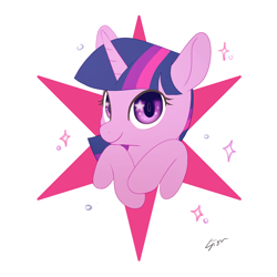 Size: 1000x1000 | Tagged: safe, artist:sion, twilight sparkle, pony, bust, cute, cutie mark background, female, mare, portrait, solo, starry eyes, twiabetes, wingding eyes