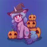 Size: 1920x1920   Tagged: safe, alternate version, artist:splatturp, izzy moonbow, pony, unicorn, g5, my little pony: a new generation, backwards cutie mark, bracelet, chest fluff, halloween, hat, holiday, jewelry, open mouth, pumpkin, witch hat