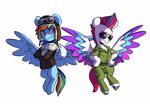 Size: 3947x2791   Tagged: safe, artist:chub-wub, part of a set, rainbow dash, zipp storm, pegasus, pony, g4, g5, my little pony: a new generation, aviator goggles, aviator hat, bomber jacket, clothes, costume, goggles, halloween, halloween costume, hat, holiday, jacket, scarf, simple background, sunglasses, uniform, white background