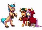 Size: 3947x2791   Tagged: safe, artist:chub-wub, part of a set, applejack, fluttershy, hitch trailblazer, earth pony, pegasus, pony, unicorn, werewolf, g4, g5, my little pony: a new generation, animal costume, big bad wolf, clothes, costume, freckles, halloween, halloween costume, holiday, lumberjack, open mouth, red riding hood, simple background, white background, wolf costume