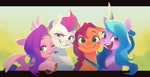 Size: 1200x616   Tagged: safe, artist:ningukt, izzy moonbow, pipp petals, sunny starscout, zipp storm, earth pony, pegasus, pony, unicorn, g5, my little pony: a new generation, adorapipp, adorazipp, blushing, bust, cute, female, floppy ears, grin, group, horn, izzybetes, looking at you, mare, one eye closed, open mouth, open smile, portrait, smiling, smiling at you, spread wings, sunnybetes, wings, wink