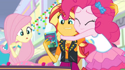 Size: 3410x1920 | Tagged: safe, screencap, fluttershy, pinkie pie, sunset shimmer, dashing through the mall, equestria girls, equestria girls series, holidays unwrapped, spoiler:eqg series (season 2), clothes, cutie mark, cutie mark on clothes, eyes closed, female, geode of empathy, high res, hug, jacket, jewelry, leather, leather jacket, magical geodes, necklace, open mouth, tanktop