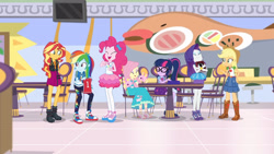 Size: 3410x1920 | Tagged: safe, screencap, applejack, fluttershy, pinkie pie, rainbow dash, rarity, sci-twi, sunset shimmer, twilight sparkle, dashing through the mall, equestria girls, equestria girls series, holidays unwrapped, spoiler:eqg series (season 2), applejack's hat, belt, book, boots, bowtie, bracelet, camera, clothes, cowboy boots, cowboy hat, cute, cutie mark, cutie mark on clothes, dashabetes, denim skirt, diapinkes, eyes closed, female, geode of empathy, geode of fauna, geode of sugar bombs, geode of super speed, geode of super strength, geode of telekinesis, glasses, hand on hip, hat, high heels, high res, hoodie, humane five, humane seven, humane six, jacket, jewelry, leather, leather boots, leather jacket, magical geodes, necklace, open mouth, open smile, ponytail, raribetes, rarity peplum dress, sandals, shimmerbetes, shoes, shyabetes, skirt, smiling, sneakers, twiabetes