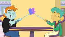Size: 3410x1920 | Tagged: safe, screencap, snails, snips, dashing through the mall, equestria girls, equestria girls series, holidays unwrapped, spoiler:eqg series (season 2), eyes closed, high res, male, open mouth, open smile, smiling