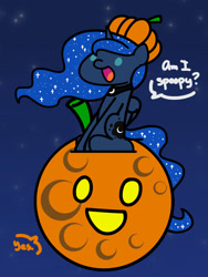 Size: 1350x1800 | Tagged: safe, artist:flutterluv, princess luna, alicorn, pony, series:flutterluv's full moon, cute, dialogue, female, full moon, halloween, happy, holiday, lunabetes, mare, moon, pumpkin, solo, spoopy, tangible heavenly object