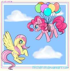 Size: 1386x1422 | Tagged: safe, artist:nichandesu, fluttershy, pinkie pie, earth pony, pegasus, pony, :d, balloon, duo, eyelashes, female, floating, mare, open mouth, open smile, smiling, then watch her balloons lift her up to the sky, wings