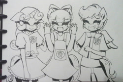 Size: 1813x1207 | Tagged: safe, artist:nichandesu, apple bloom, scootaloo, sweetie belle, human, :d, apron, clothes, cutie mark, cutie mark crusaders, cutie mark on clothes, eyelashes, eyes closed, horn, horned humanization, humanized, lineart, open mouth, open smile, skirt, smiling, the cmc's cutie marks, traditional art, winged humanization, wings